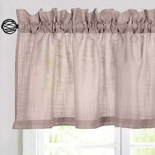 Sheer Valance Curtain Linen Textured Window Treatment Tiers for Kitchen 1 Panel