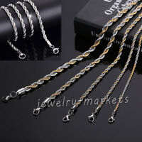 Fashion Men's Gold Silver Stainless Steel Figaro Curb Twist Chain Link Necklace