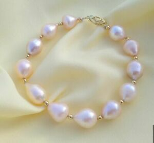 Southsea 10x14mm Goldpink Baroque Pearl Bracelet 7.5-8 Inch 14k Yellow Gold P