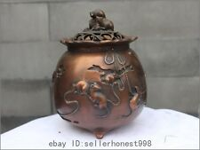 Chinese Palace Fengshui Red Bronze Zodiac Mouse Mice Incense Burner Censer