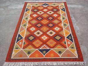 Handwoven 8x10 Handmade Flatweave Blue Reversible Dhurrie Area Rugs Kilim