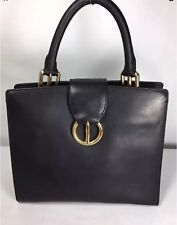 STUART WEITZMAN BLACK LEATHER SATCHEL WITH GOLD HARDWARE AND LEOPARD LINING
