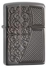 Zippo 29498, Armor, Old Filigree, Deep Carved, Black Ice Lighter, Full Size