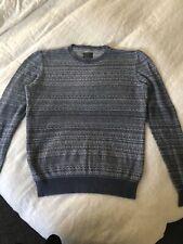 All Saints Mens Halsey Crew Fairisle Sweater Blue Stripe Jumper Size Small.