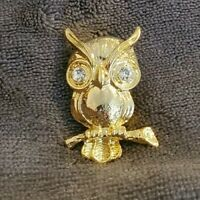 Vintage Goldtone Owl Brooch/Scarf  Pin with diamante decoration