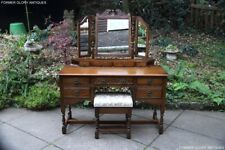 AN OLD CHARM LIGHT OAK DRESSING TABLE CHEST OF DRAWERS VANITY MIRROR STOOL STAND