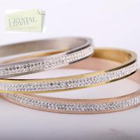 New Genuine Swarovski Crystals S/Steel Rose Gold Plated Silver Bangle Bracelet