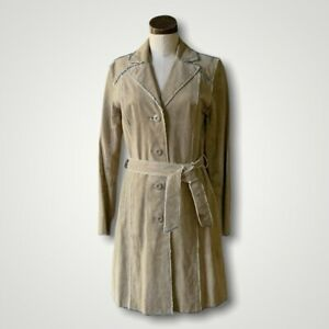 WILSONS LEATHER Vtg Suede Jacket Denim Trench Tan MAXIMA Small