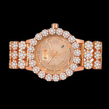 Real Diamond Rose Gold Custom Roman Flower Ice House Luxury Watch W/Date Men's