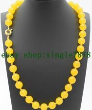 """Charming 8mm Yellow Jade Round Beads Gemstones Necklace 20""""AAA"""