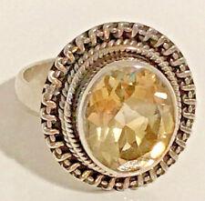 Bold Sterling Silver Citrine .925 Solitare Bezel Set Oval Solitare Ring Size 7