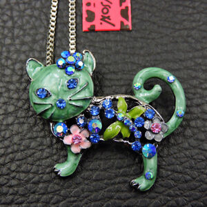 Betsey Johnson Green Crystal Rhinestone Cat Pendant Sweater Chain Necklace
