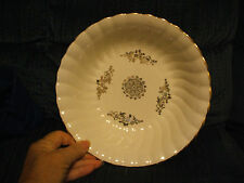 """9"""" Homer Laughlin Fluted Serving Bowl Ivory with Gold Trim and Floral"""