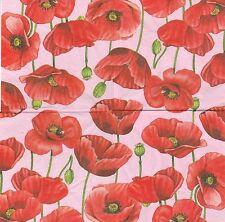 2 Serviettes en papier Fleurs Coquelicot Decoupage Paper Napkins Poppy Pink