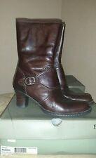 New BORN med tall dark brown leather short boots MADARIN size 9.5 NIB