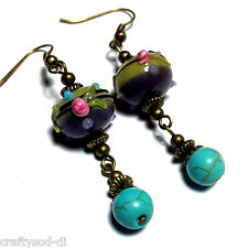 Turquoise Bronze Earrings Drop Dangle Glass Antique Vintage Style Pierced Hook