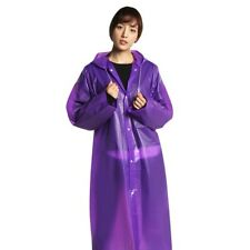 Adult Purple Raincoat Transparent Waterproof Plastic Reusable Rain Jacket w/ Hat