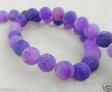 6mm Purple Dream Fire Dragon Veins Agate Round Gems Loose Beads 15""