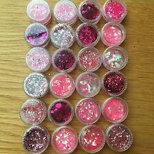 10 PINK GLITTER POTS FESTIVAL SPARKLY RAINBOW NAIL MAKEUP UNICORN MERMAID