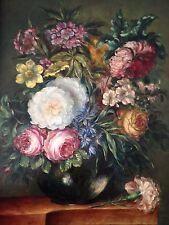 ORIGINALE Antico dipinto ad olio sul Pannello in Legno Natura Morta Fiori Firmato