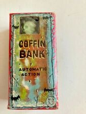 Vintage Yone SKELETON COFFIN COIN BANK Wind Up Toy made in Japan Tested