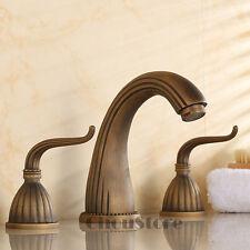 Widespread 3 Holes Bathroom Basin Faucet Two Handle Sink Mixer Tap Antique Brass