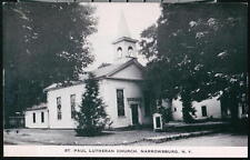 NARROWSBURG NY St Paul Lutheran Church Vintage B&W Postcard Old Town View PC