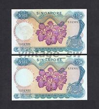 1967 SINGAPORE ORCHID $50.00 LKS A/1 131921-22 P-5a VF