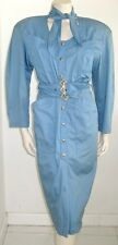 THIERRY MUGLER BABY BLUE COTTON DRESS VINTAGE 1980's FRENCH SIZE 38 USA 8