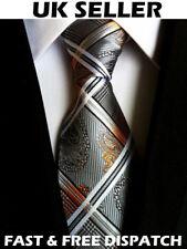 Grey & Gold Men's Silk Paisley Tie Modern Sleek Office Work Wedding Designer Tie