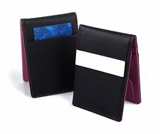 Mens Womens Money Clip PU Leather Wallet Ultra Slim Credit Card Purse PURPLE