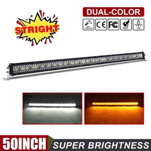 50 Inch Strobe Amber White LED Light Bar Flood Spot Beam for Jeep Toyota Pickup