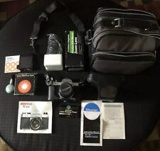 Pentax K1000 35mm SLR Camera Kit w/ A 75-200 Zoom Lens  & Electronic  flash+case