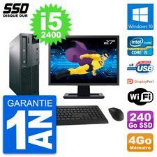 """PC LENOVO M82 SFF Screen 27 """" Intel Core i5-2400 RAM 4Go SSD 240Go Windows 10"""