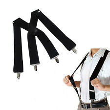 Black Suspenders Adult Teens Elastic Belt 4 Clip Braces Pop Clothing Fittings
