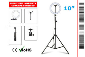 "ANELLO LED LUMINOSO PROFESSIONALE 10"" (26 CM) IDEALE SELFIE E VIDEO + TREPPIEDE"