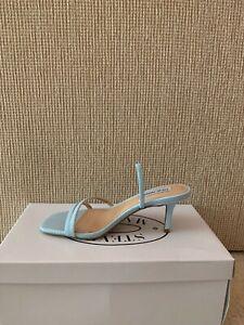 Women's Steve Madden Slingback Strappy Heeled Sandal Shoes, Blue, Size: 6.5, NEW