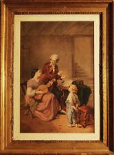 LEZIONE DI CHITARRA - Acquerello Originale Inglese 1800 - Musica Liuto
