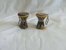 "1 Mini Egyptian Ceramic Drum Keychain Hand Painted 1,5"" - 1.75"" High"
