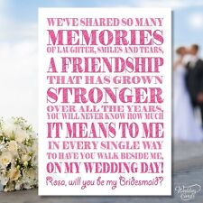 Will You Be My Bridesmaid Cards Maid of Honour Sister Invite Card Invitation A6