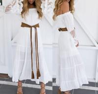 Womens Summer Off Shoulder Beach Skirt White Lace Pagoda Sleeve Long Dresses