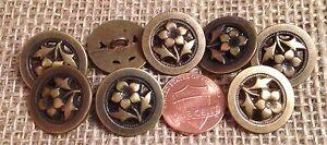 """8 Pierced Brass Tone Metal Flower Floral Petunia Shank Buttons 3/4"""" 19mm 7254"""