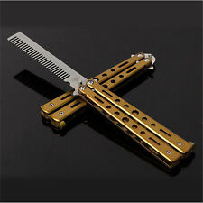 Golden Stainless Steel Butterfly Balisong Comb Training Knife Dull Tool Yo