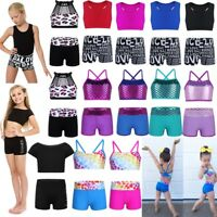 Girls Dance Outfits Ballet Gymnastics Crop Tops+Shorts Swimwear Sports Dancewear