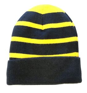 Beanie Hat Thick Fleece Lined Black and Yellow One Size Adult Cuffed
