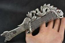 Collectibles Old Decorated Handwork Miao Silver Carving Dragon Phoenix Comb