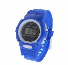 Blue Kids Girls Boys Digital Wrist Watch Sports Date and Time Soft Band LCD