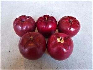 Set of 5 Vintage Red Wooden Apples Life Like, Wood Stems, 1 Stem Missing