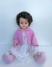 Vintage Doll 1960s Large Hard Plastic Doll, Brown Rooted Hair