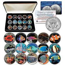 SALTWATER FISH Aquarium Tank JFK Kennedy Half Dollars U.S. 15-Coin Set with Box